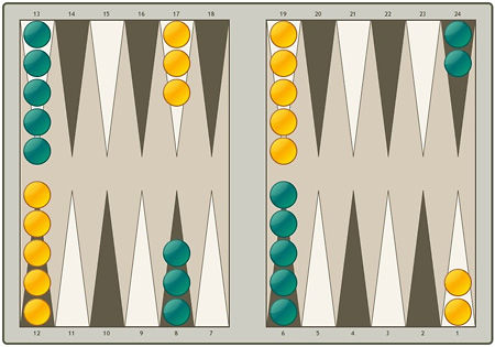 The board  for Backgammon game.