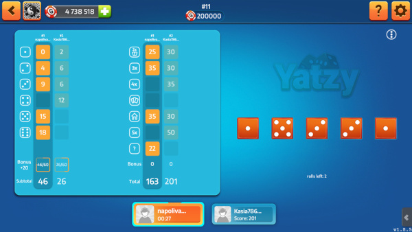 Dice the game window. On the left side shows the panel with bone chips and scoring obtained for bone chips obtained.