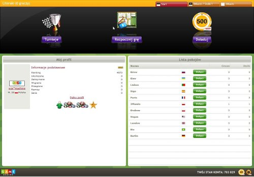 The main panel in WordBox game. Includes player profile, and available rooms.