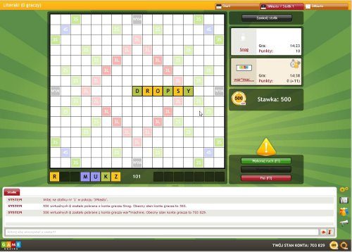 The board of WordBox during the game between two players.