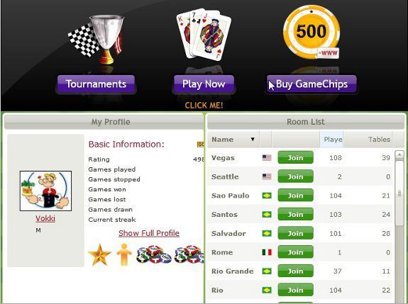 View of the Main Lobby of the game Brazilian Rummy with a list of Buracao rooms and player profile.