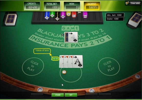 Won by obtaining a sum equal to 21 cards 'Blackjack' or less.