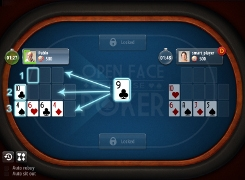 Open-face Chinese poker - tutorial screen 2