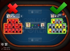 Open-face Chinese poker - tutorial screen 3