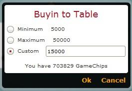 Determination of the amount of chips they want to join the game.