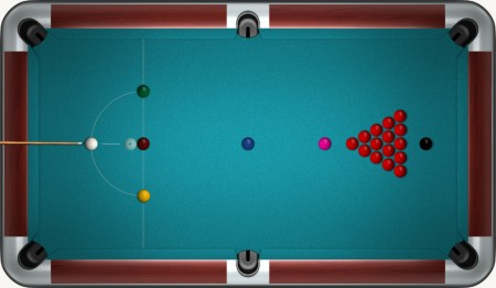 Snooker table while breaking balls.